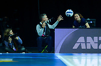 Photographer Michael Bradley catches the ball during the ANZ Premiership netball final between Northern Mystics and Mainland Tactix at Spark Arena in Auckland, New Zealand on Sunday, 8 August 2021. Photo: Dave Lintott / lintottphoto.co.nz