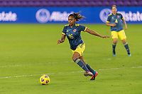 ORLANDO, FL - JANUARY 22: Jorelyn Carabalí #16 prepares to play the ball during a game between Colombia and USWNT at Exploria stadium on January 22, 2021 in Orlando, Florida.