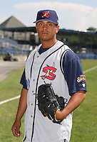 2007:  Adam Simon of the State College Spikes poses for a photo prior to a game vs. the Batavia Muckdogs in New York-Penn League baseball action.  Photo By Mike Janes/Four Seam Images