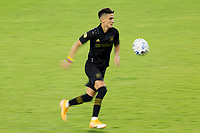 CARSON, CA - OCTOBER 28: Eduard Atuesta #20 of the Los Angeles FC moves with the ball during a game between Houston Dynamo and Los Angeles FC at Banc of California Stadium on October 28, 2020 in Carson, California.