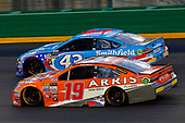 Monster Energy NASCAR Cup Series<br /> Quaker State 400<br /> Kentucky Speedway, Sparta, KY USA<br /> Saturday 8 July 2017<br /> Daniel Suarez, Joe Gibbs Racing, ARRIS Toyota Camry and Darrell Wallace Jr, Richard Petty Motorsports, Smithfield Ford Fusion<br /> World Copyright: Russell LaBounty<br /> LAT Images
