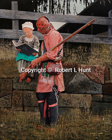 Little pioneer girl teaching a Native American warrior from the bible, a Delaware Eastern Woodland Indian with flintlock rifle.