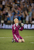 Jimmy Nielsen (1) of Sporting Kansas City celebrates his team's first goal during the game at Livestrong Sporting Park in Kansas City, Kansas.   Sporting Kansas City won the Lamar Hunt U.S. Open Cup on penalty kicks after tying the Seattle Sounders in overtime.