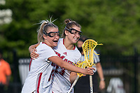 NEWTON, MA - MAY 14: Molly Kearney #39 of University of Massachusetts and Courtney Barrett #23 of University of Massachusetts celebrate a goal during NCAA Division I Women's Lacrosse Tournament first round game between University of Massachusetts and Temple University at Newton Campus Lacrosse Field on May 14, 2021 in Newton, Massachusetts.