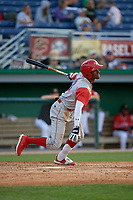 Williamsport Crosscutters Johan Rojas (13) bats during a NY-Penn League game against the Batavia Muckdogs on August 25, 2019 at Dwyer Stadium in Batavia, New York.  Williamsport defeated Batavia 10-3.  (Mike Janes/Four Seam Images)
