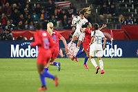 CARSON, CA - FEBRUARY 7: Jocelyn Orejel #4 of Mexico heads the ball during a game between Mexico and USWNT at Dignity Health Sports Park on February 7, 2020 in Carson, California.