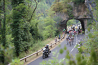 breakaway group passing under 1 of the rock tunnels of the Gorges Du tarn <br /> <br /> stage 14: Rodez - Mende (178km)<br /> 2015 Tour de France
