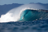 A beautiful wave breaks at Pipeline on the North Shore of O'ahu.