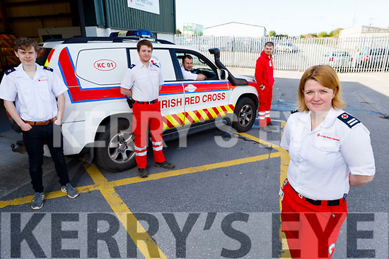 Members of the Tralee Irish Red Cross at the office on Monday.<br /> Front left: Majella Forde<br /> Back l to r: Nathan Commerford, Thomas White, James Smullen and Donald Walsh.