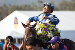 ARCADIA, CA - NOV 04: Mike Smith, aboard Tamarkuz #8, celebrates after winning the Breeders' Cup Las Vegas Dirt Mile at Santa Anita Park on November 4, 2016 in Arcadia, California. (Photo by Alex Evers/Eclipse Sportswire/Breeders Cup)
