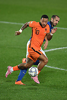 Memphis Depay of Netherlands and Giorgio Chiellini of Italy during the Uefa Nation League Group Stage A1 football match between Italy and Netherlands at Atleti azzurri d Italia Stadium in Bergamo (Italy), October, 14, 2020. Photo Andrea Staccioli / Insidefoto