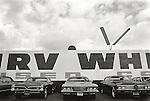 1971 Los Angeles, CA.LaBrea Area- Irv White used car lot.