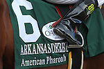 April 11, 2015: American Pharoah silks in the Arkansas Derby at Oaklawn Park in Hot Springs, AR. Justin Manning/ESW/CSM