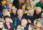 Bishop of Killaloe Fintan Monahan and Bishop Emeritus of Killaloe Dr Willie Walsh chatting with hurling fans before the Munster championship game in Ennis. Photograph by John Kelly.