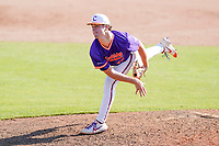 Brett Percival (40) of the Clemson Tigers delivers a pitch in a fall Orange-Purple intrasquad scrimmage on Saturday, November 14, 2020, at Doug Kingsmore Stadium in Clemson, South Carolina. (Tom Priddy/Four Seam Images)