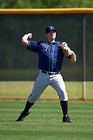 Villanova Wildcats pitcher Sal Fradella (45) warms up in the outfield before a game against the Dartmouth Big Green on February 27, 2016 at South Charlotte Regional Park in Punta Gorda, Florida.  Villanova defeated Dartmouth 14-1.  (Mike Janes/Four Seam Images)