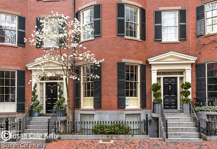 Historic brownstones in Louisbourg Square on Beacon Hill, Boston, Massachusetts, USA