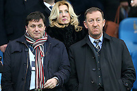 Vice Chairman of Swansea City Football Club Leigh Dineen, left, stands with Swansea City Chairman Huw Jenkins pictured in the Directors Box ahead of the Barclays Premier League Match between Manchester City and Swansea City played at the Etihad Stadium, Manchester on 12th December 2015
