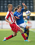 Kilmarnock v St Johnstone...11.08.13 SPFL<br /> Stevie May and Mark O'Hara<br /> Picture by Graeme Hart.<br /> Copyright Perthshire Picture Agency<br /> Tel: 01738 623350  Mobile: 07990 594431