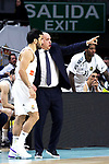Real Madrid's Facundo Campazzo and Real Madrid's coach Pablo Laso during Euroligue match between Real Madrid and Zalgiris Kaunas at Wizink Center in Madrid, Spain. April 4, 2019.  (ALTERPHOTOS/Alconada)