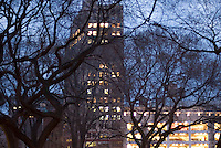 Illuminated Buildings on 14th Street at Dusk, Union Square, New York City, New York State, USA
