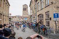 peloton crossing the town of Veurne<br /> <br /> 43rd Driedaagse Brugge-De Panne 2019 <br /> One day race (1.UWT) from Brugge to De Panne BEL (200km)<br /> <br /> ©kramon