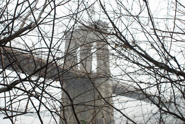 Brooklyn Bridge, Viewed thru Bare Trees on an Overcast Winter Day, New York City, New York State, USA
