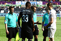 SWANSEA, WALES - MARCH 25: Keston Davies of Swansea City shakes hands with Referee A Coggins prior to kick off of the Premier League International Cup Semi Final match between Swansea City and Porto at The Liberty Stadium on March 25, 2017 in Swansea, Wales. (Photo by Athena Pictures)Athena Pictures)
