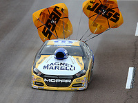 Feb 20, 2015; Chandler, AZ, USA; NHRA pro stock driver Allen Johnson during qualifying for the Carquest Nationals at Wild Horse Pass Motorsports Park. Mandatory Credit: Mark J. Rebilas-