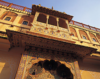 The Peacock Balcony - an ornate turretted balcony in the inner courtyard of the City Palace, Jaipur, Indi