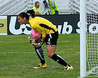 St Louis Athletica goalkeeper Hope Solo (1) makes a save against Sky Blue FC during a WPS match at Anheuser-Busch Soccer Park, in St. Louis, MO, June 7, 2009. Athletica won the match 1-0.
