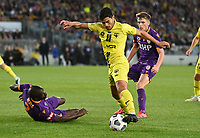 30th May 2021; Auckland, New Zealand;  Ulises Davila turns and sits the defender down as he heads for goal;<br /> Wellington Phoenix versus Perth Glory, A-League football at Eden Park.
