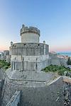 Croatia, Dubrovinik, Minceta Tower and Old Town at Dawn