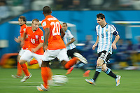 Motion blur of Lionel Messi of Argentina