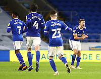 26th December 2020; Cardiff City Stadium, Cardiff, Glamorgan, Wales; English Football League Championship Football, Cardiff City versus Brentford; Will Vaulks of Cardiff City celebrates after scoring his sides second goal making it 2-3 in the 76th minute