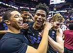 Duke guard Jordan Goldwire, left, and forward Jack White, right, celebrate with Cam Reddish after Reddish scored the game winning jump shot against Florida State with less than a second left in the second half of an NCAA college basketball game in Tallahassee, Fla., Saturday, Jan. 12, 2019. Duke defeated Florida State 80-78. (AP Photo/Mark Wallheiser)