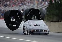 Mar. 11, 2012; Gainesville, FL, USA; NHRA pro mod driver Leah Pruett during the Gatornationals at Auto Plus Raceway at Gainesville. Mandatory Credit: Mark J. Rebilas-