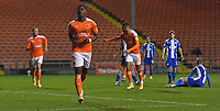 Blackpool's Sullay Kaikai celebrates scoring his team's opening goal<br /> <br /> Photographer Dave Howarth/CameraSport<br /> <br /> The EFL Sky Bet League One - Blackpool v Wigan Athletic - Tuesday 3rd November 2020 - Bloomfield Road - Blackpool<br /> <br /> World Copyright © 2020 CameraSport. All rights reserved. 43 Linden Ave. Countesthorpe. Leicester. England. LE8 5PG - Tel: +44 (0) 116 277 4147 - admin@camerasport.com - www.camerasport.com