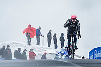 Alberto Bettiol (ITA/EF Education - Nippo) coming over the Passo Giau waving to the sheering bystanders<br /> <br /> due to the bad weather conditions the stage was shortened (on the raceday) to 153km and the Passo Giau became this years Cima Coppi (highest point of the Giro).<br /> <br /> 104th Giro d'Italia 2021 (2.UWT)<br /> Stage 16 from Sacile to Cortina d'Ampezzo (shortened from 212km to 153km)<br /> <br /> ©kramon