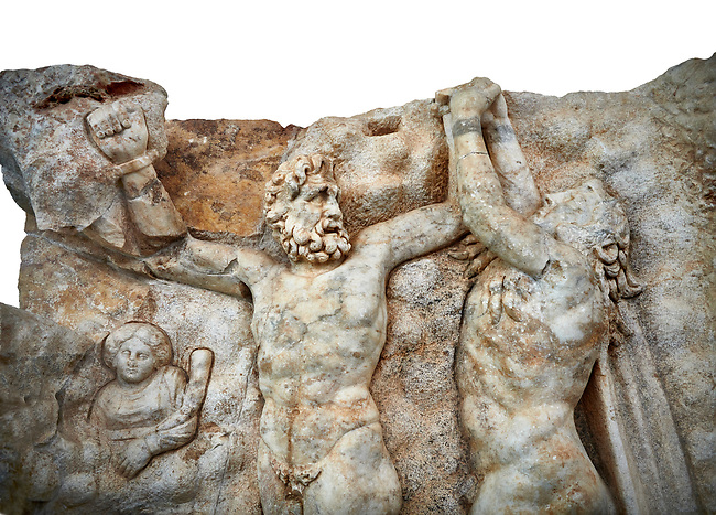 Close up of a Roman Sebastian relief sculpture of Zeus and Prometheus, Aphrodisias Museum, Aphrodisias, Turkey.      Against a white background.<br /> <br /> Prometheus is screaming in pain. Zeus had given him a terrible punishment for giving fire to man: he was tied to the Caucasus mountains and had his liver picked out daily by an eagle. Herakles shot the eagle and is undoing the first manacle. He wears his trade mark lion-skin and thrown his club to one side. A small mountain nymph, holding a throwing stick appears amongst the rocks.