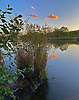 Sunset over the Model Boating Pond, Hampstead Heath, N London<br /> <br /> Stock Photo by Paddy Bergin