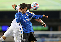 SAN JOSE, CA - MAY 15: Javier López #9 of the San Jose Earthquakes with a head ball during a game between Portland Timbers and San Jose Earthquakes at PayPal Park on May 15, 2021 in San Jose, California.