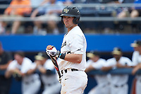 Keegan Maronpot (13) of the Wake Forest Demon Deacons looks to his third base coach for the signs during the game against the Florida Gators in the completion of Game Two of the Gainesville Super Regional of the 2017 College World Series at Alfred McKethan Stadium at Perry Field on June 12, 2017 in Gainesville, Florida. The Demon Deacons walked off the Gators 8-6 in 11 innings. (Brian Westerholt/Four Seam Images)