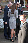 NON EXCLUSIVE PICTURE: MATRIXPICTURES.CO.UK.PLEASE CREDIT ALL USES..WORLD RIGHTS..Pregnant British royal Kate Middleton, the Duchess of Cambridge, is pictured visiting clients and staff at London's Action On Addiction residential treatment centre...FEBRUARY 19th 2013..REF: WTX 131177