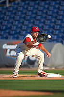 Clearwater Threshers first baseman Kyle Martin (27) catches a throw during a game against the Dunedin Blue Jays on April 8, 2016 at Bright House Field in Clearwater, Florida.  Dunedin defeated Clearwater 8-3.  (Mike Janes/Four Seam Images)