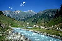 River and road between Srinagar and Leh in Ladakh, Kashmir, India.
