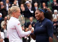 Paris, France, 03 June, 2016, Tennis, Roland Garros, Semifinal women, Kiki Bertens (NED) congratulates  Serena Williams (USA) with her win<br /> Photo: Henk Koster/tennisimages.com