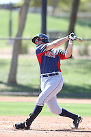Josh McAdams #26 of the Cleveland Indians bats during a Minor League Spring Training Game against the Los Angeles Dodgers at the Los Angeles Dodgers Spring Training Complex on March 22, 2014 in Glendale, Arizona. (Larry Goren/Four Seam Images)