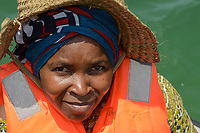 TANZANIA, Zanzibar, due to climate change and rising water temperatures seaweed farmer have shifted to plant red algae farming in deep water, woman Jina Makame