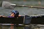 The coxswain for the University of St. Thomas crew commands her team down river during the 68th Dad Vail Regatta on the Schuylkill River in Philadelphia, Pennsylvania on May 12, 2006...............